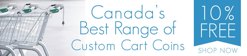 row of locked up shopping carts with the message 'Canada's Best Range of Custom Cart Coins' and 10% FREE offer displayed