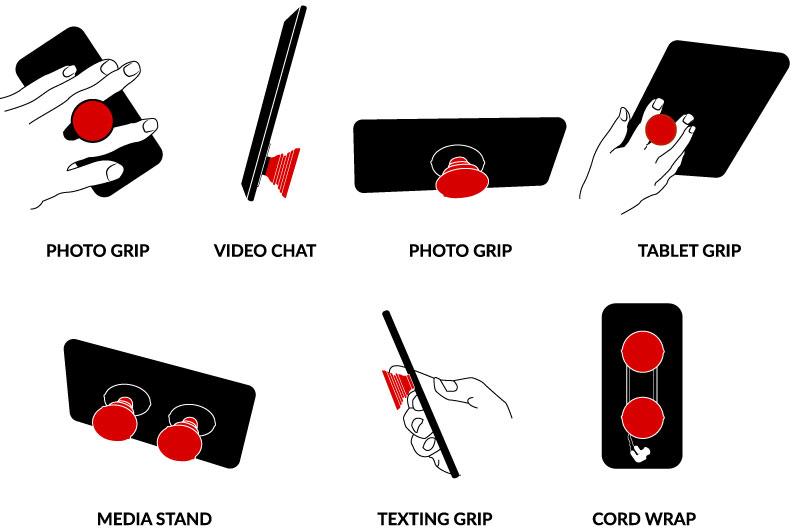 Phone gripper uses