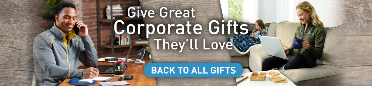 corporate employees enjoying branded products at home with the message 'Give Great Corporate Gifts They'll Love' displayed