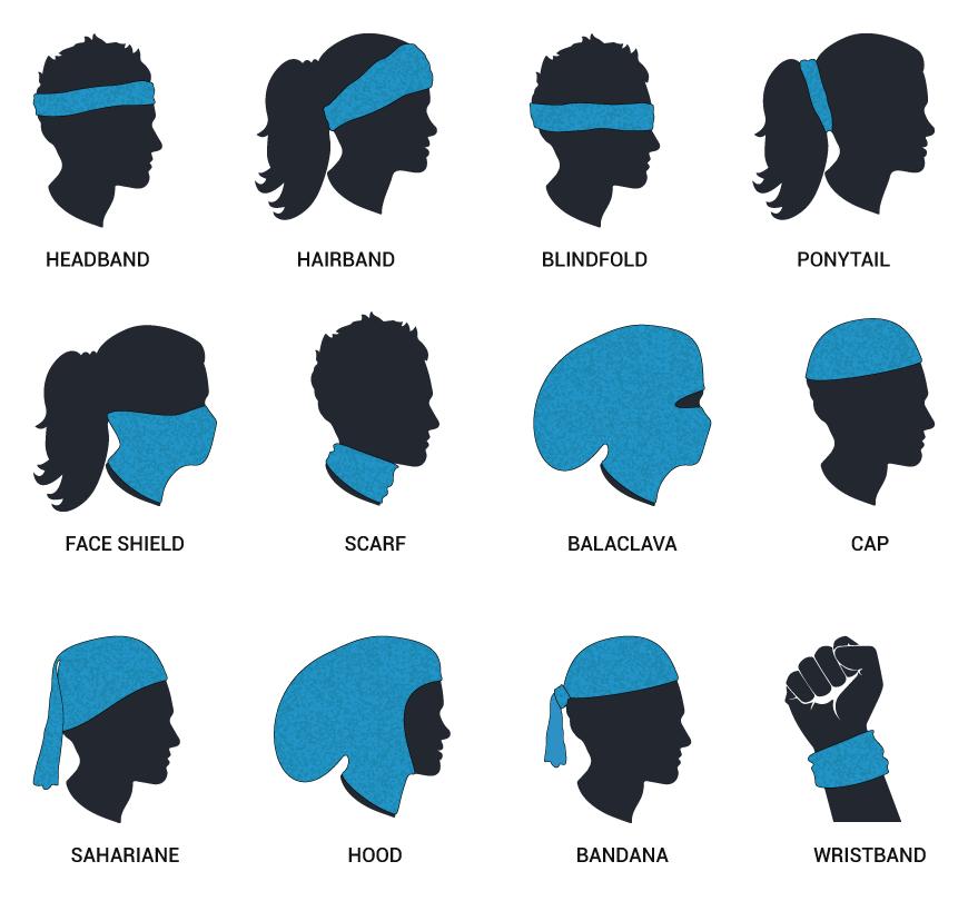 Ways to Wear; headband, hairband, blindfold, ponytail, face shield, scarf, balaclava, cap, sahariane, hood, bandana, wristband