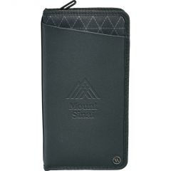 A black RFID travel wallet with a debossed logo