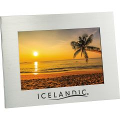 """A silver aluminum horizontal 5""""x7"""" photo frame with an black logo and a picture inside"""