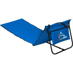 The reverse view of a royal coloured nylon laounging beach chair with a black frame and a full colour logo on the back