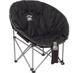 Am angled view of a black round shaped folding chair with a grey and white logo on the back and a water bottle in the front pocket