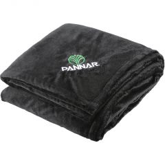 A black polyester fleece blanket folded and showing an embroidered logo in the corner