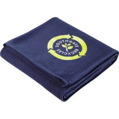 """A navy hemmed 50""""x60"""" blanket folded up and showing a full colour logo"""
