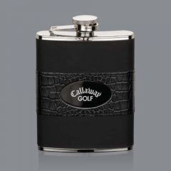 A dark coloured leatherette bound, silver hip flask with a black nickel plate in the middle of the accent band with an engraved logo