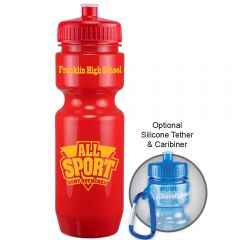 22oz red bike bottle with red push pull lid and yellow logo next to example of carabiner use