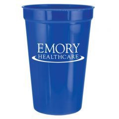 royal blue 22oz plastic stadium cup with white logo