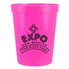 neon pink 16oz plastic stadium cup with black logo