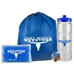 A gel pack filled with blue gel and showing a white logo in front of a blue drawstring shoe bag with a white logo. Beside these are a full colour keepsake token and a clear 22oz bottle with a blue lid and a blue logo