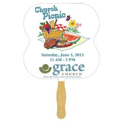 A sandwich hand fan with a wooden handle and a full colour hourglass shaped paddle