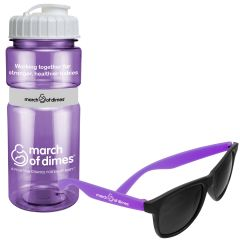 A translucent purple 20oz water bottle with a white lid and logo beside a pair of shades with purple arms and a white logo on the nearest arm.