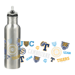 26oz stainless steel bottle with black and grey lid and a yellow logo