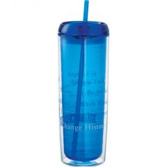 A blue acrylic 24oz tumbler with a white and blue logo