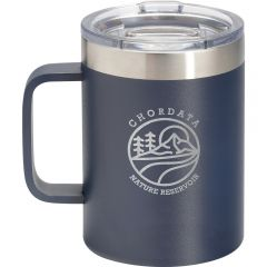 A navy and stainless steel 14oz thermal mug with a clear lid and an engraved logo