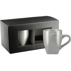 A grey ceramic 12oz mug with a full colour logo in front of a black gift box with the same colour mug but with no logo inside the box