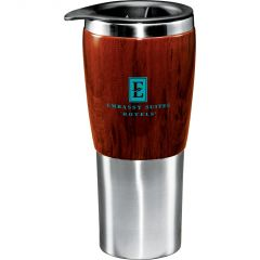 A wood veneer and metal 16oz tumbler with a teal logo and a black lid