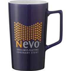 A blue ceramic 20oz mug with a white interior and a yellow and grey logo on the exterior