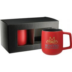 A red 14oz ceramic mug with a full colour logo and a grey inner wall in front of a black gift box with the same colour mug inside but unprinted