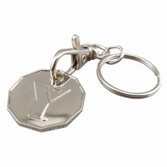 shiny silver coloured loonie shaped moulded and polished shopping cart token with trigger clip and split ring