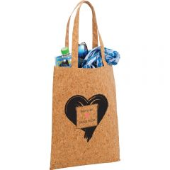 An angled view of a cork tote with a black logo, filled with goods