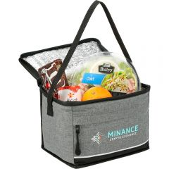 An angled view of an open graphite coloured and black accented 6 can lunch cooler filled with food and with a full colour logo on the front