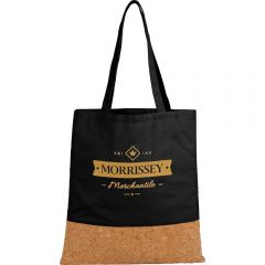A cork and black cotton convention tote with a yellow logo