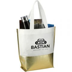 An angled view of a gold and white coloured laminated non woven tote with a black logo on the front and that is filled with goods