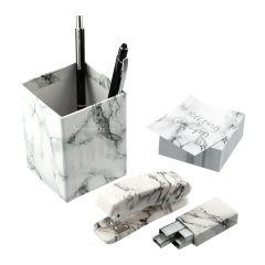 4pc Faux Marble Desktop Set