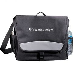 A black with grey accents messenger bag with blue and white logo