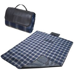A blue checkered fleece blanket unfolded with the front right corner turned up. Behind the blanket is the same item folded into it's carry position with a debossed logo on the front