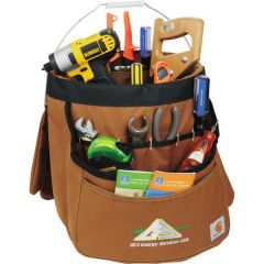 brown 5 gallon bucket organizer with full colour logo and filled with tools