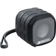 A dark coloured outdoor bluetooth speaker with a white logo on the front