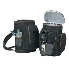 polyester golf bag shaped cooler images of open and closed positions