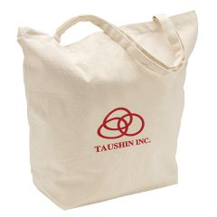 natural coloured canvas tote with dark red logo