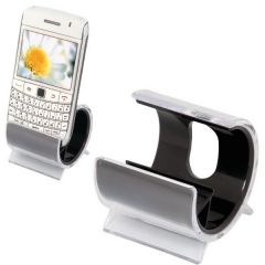 two acrylic black and clear phone cradles one with a phone in it