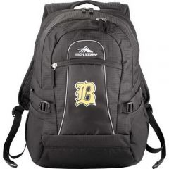 black compu backpack with white and yellow logo