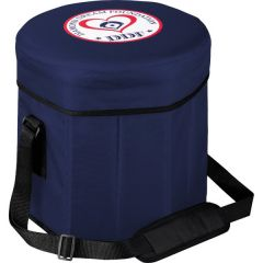 navy hexagonal cooler and seat combination with full colour logo on top