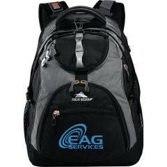 black with grey accents compu-backpack with blue logo