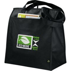 black non woven big grocery tote with green and white logo