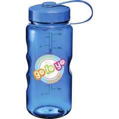 18oz translucent blue BPA free sport bottle with full colour logo