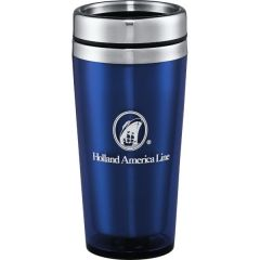A blue 16oz tumbler with silver accents and a white logo