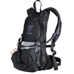 black hydration pack with blue and grey logo on front
