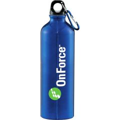 26oz blue aluminum bottle with blue and silver carabiner and white and green logo