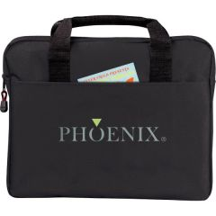 black briefcase with green and grey logo