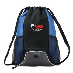 royal blue and black drawstring bag with two mesh pockets and a red and white logo