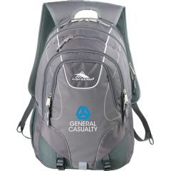 grey compu-backpack with white and blue logo