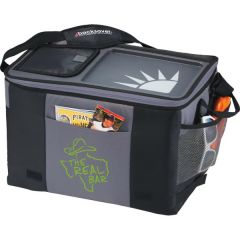 grey and black 50 can table top cooler with green logo on the side