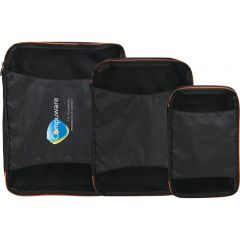 set of three black packing cubes with orange trim and the largest showing a full colour logo